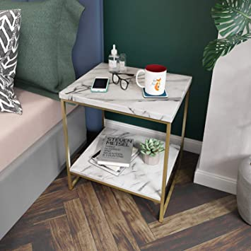 Amazoncom Roomfitters White Marble Print Side Table With Gold