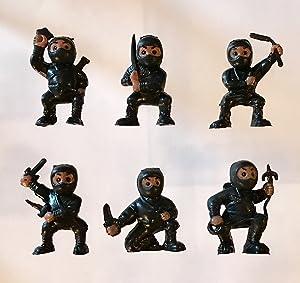 40 Black Mini Karate Ninjas Warriors Fighters Figures Cupcake Cake Toppers Ninja Kung Fu Guys Martial Arts Men Lot Party Favors