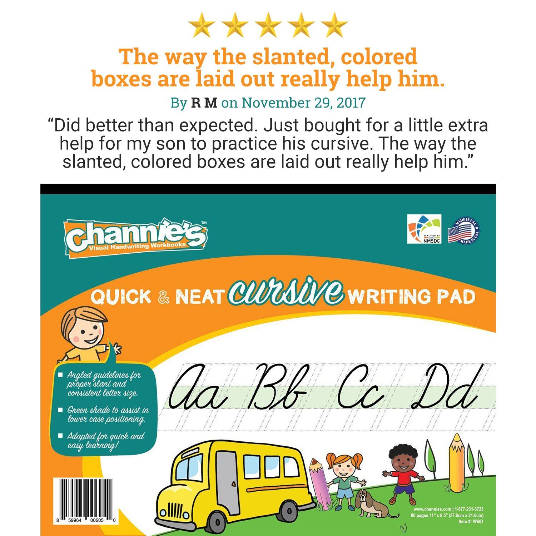 Amazon.com : Channie\'s Quick & Neat Cursive Handwriting Pad, 80 ...
