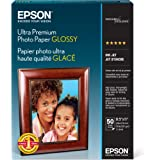 Epson Ultra Premium Photo Paper GLOSSY (8.5x11 Inches, 50 Sheets) (S042175),White