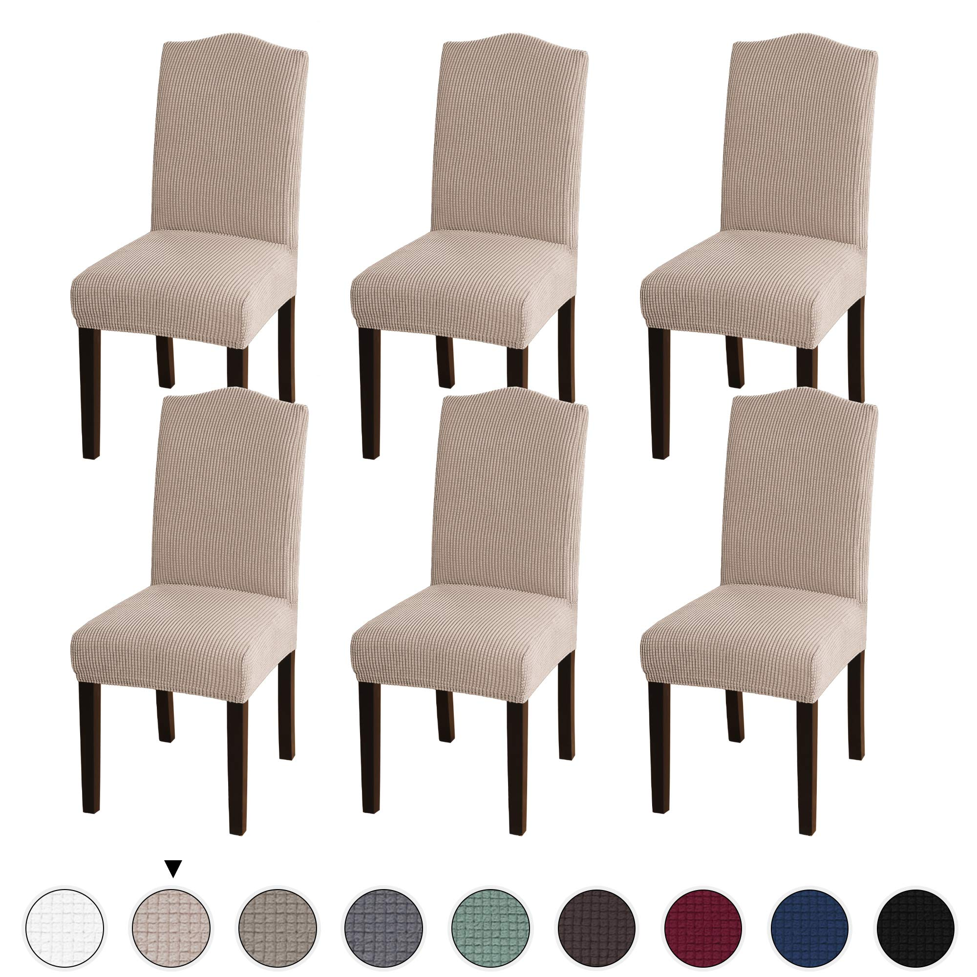 Turquoize Stretch Dining Chair Velvet Fabric Slipcovers Washable Removable Chair Slipcover Dining Chair Protector Cover for Dining Room Set of 6, Khika by Turquoize