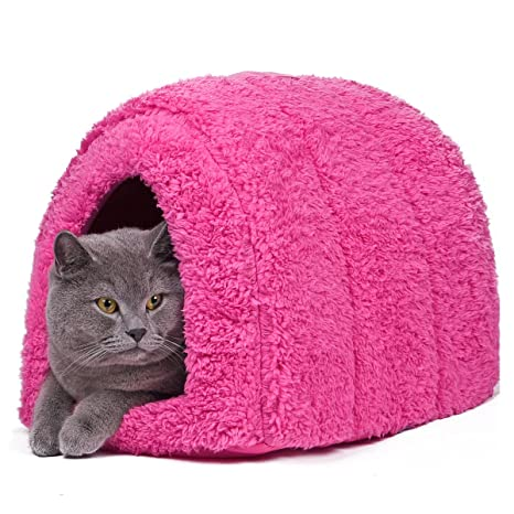 Cama con forma de cueva para mascotas, de la marca Pawz Road