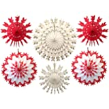 6-piece Multi-colored Tissue Paper Snowflake Party Decoration Kit (Red and White, 15-22 inches)