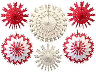 product image for Devra Party 6-Piece Tissue Snowflakes, Red White, 15-22 Inch