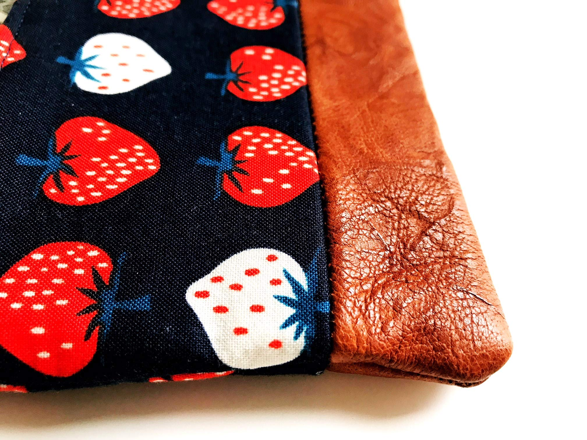 Strawberry Leather Change Purse, Coin Wallet, Strawberry Coin Pouch, Zipper Wallet