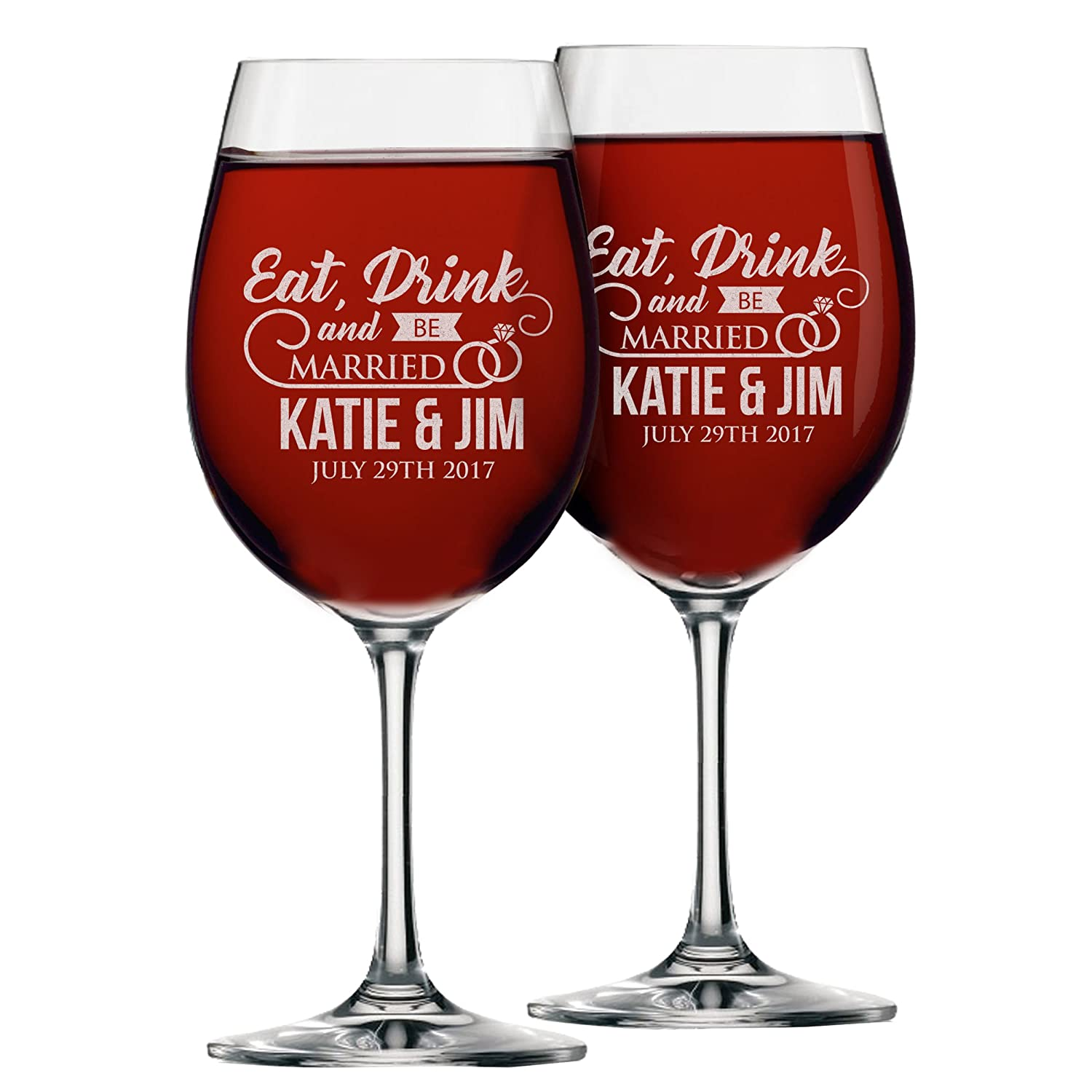 Amazon.com | Set of 2 Eat Drink and Be Married Wine Glasses ...