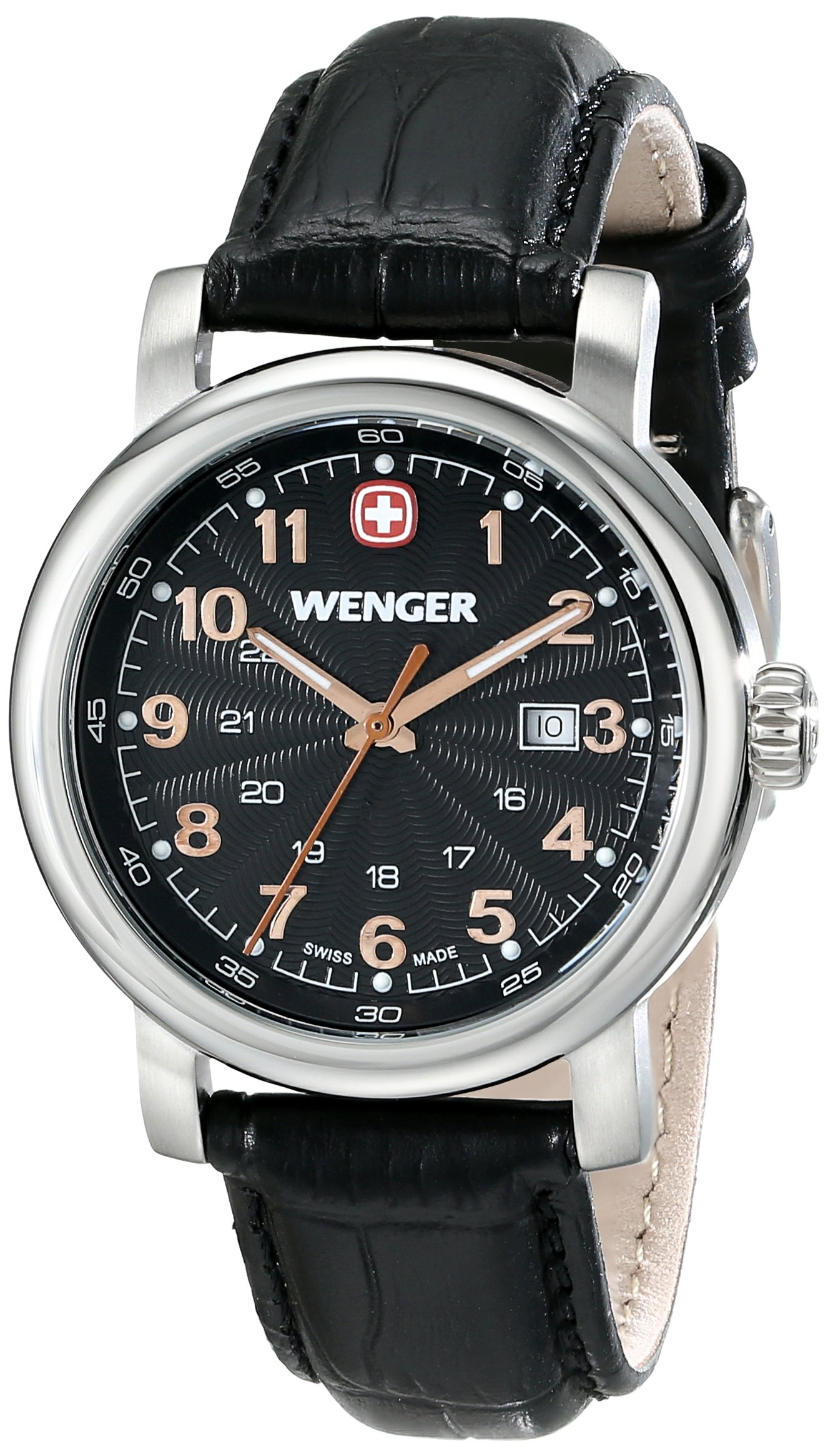 Wenger Women's 1021.105 Analog Display Swiss Quartz Black Watch