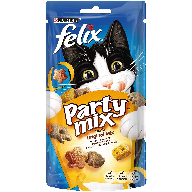 Purina Felix Party Mix Original Snacks para Gato - Pack de 8 x 60 g - Total 480 g NESTLE PURINA 7613033736933