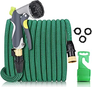 Collapsible Garden Hose 75 Ft lengths with 10 Adjustable Watering Patterns Nozzle, Retractable Hose for Flexible Gardening Water Hose with Solid Brass Connector