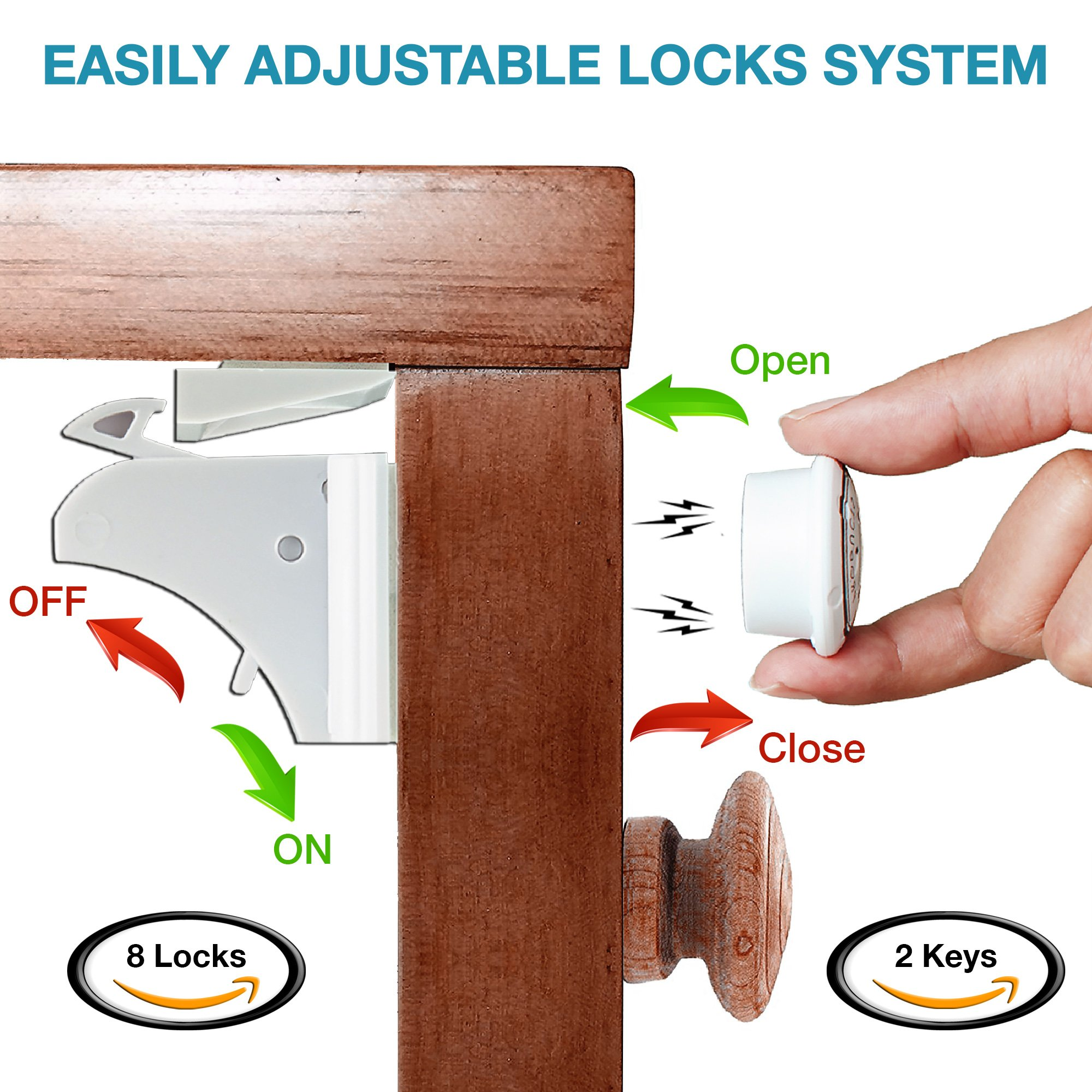 Invisible Magnetic No Drill Safety Lock: Keep Your Baby Safe! Secure Kitchen & Bedroom Cabinets & cupboards With 8 Child Proof Door & Drawer Locks for Kids & toddlers.2 Keys & 3M Adhesive Straps by MQP (Image #3)