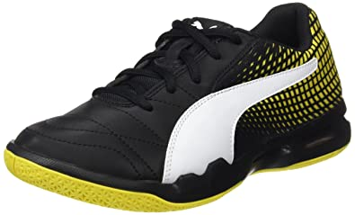 Puma Unisex-Kinder Veloz Indoor NG Jr Multisport Schuhe, Schwarz Black-White-Blazing Yellow, 34 EU