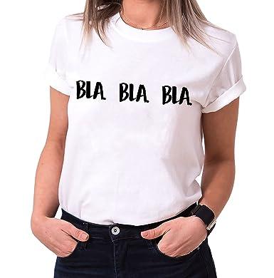 9b17fc85ce44 Sambosa Bla Bla Bla Branché T-Shirt pour Femme avec imprimé  Amazon.fr   Vêtements et accessoires