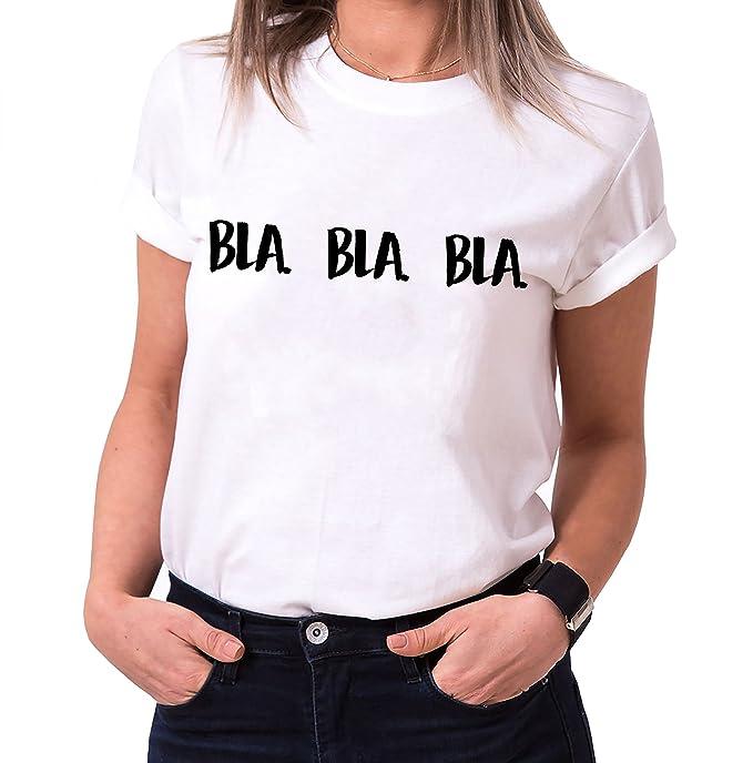 b49d7b934 WhyKiki Bla Bla Bla Trendy Algodón Camiseta de Mujer con Estampado   Amazon.es  Ropa y accesorios