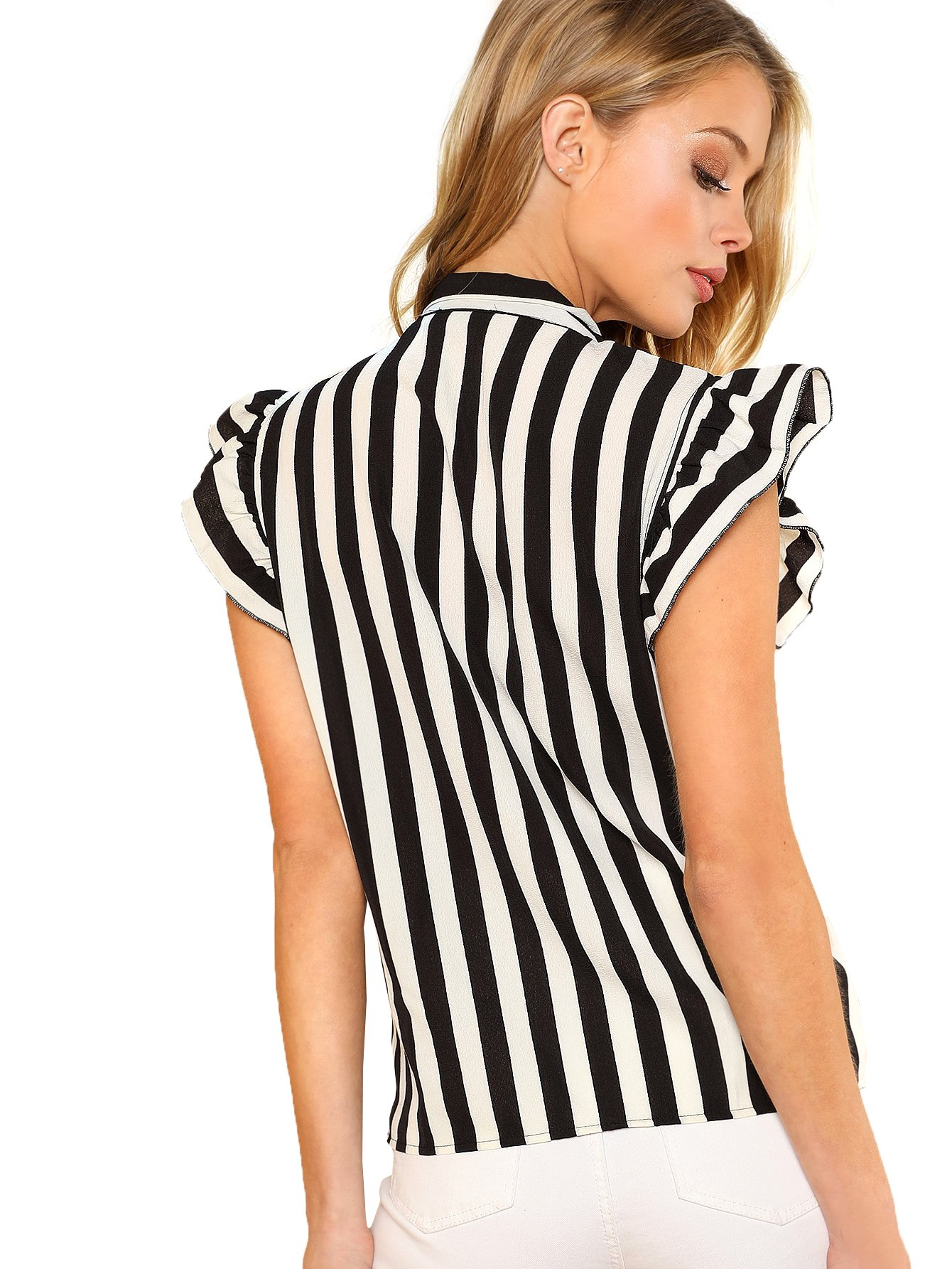 0427b083 Floerns Women's Sleeveless Bow Tie Striped Summer Chiffon Blouse Top <  Blouses & Button-Down Shirts < Clothing, Shoes & Jewelry - tibs