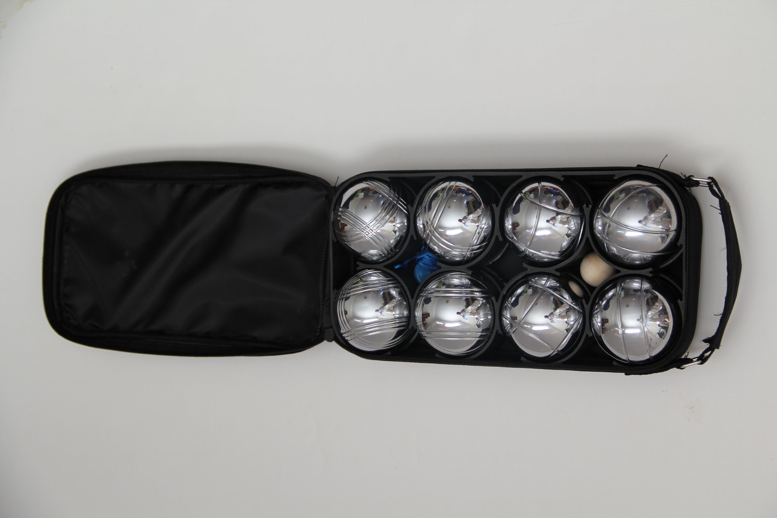 8 Ball 73mm Metal Bocce/Petanque Set with blue bag - single