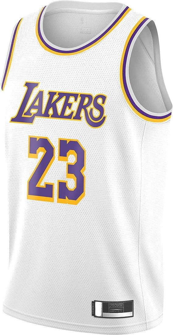 New NBA LA Lakers Lebron James #23 Basketball Jersey Slam Dunk White Mercerized