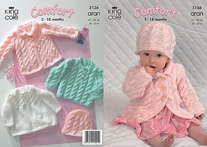 King Cole comodidad bebé patrón para tejer abrigo de Punto Aran e ...