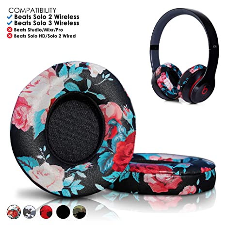 e999ece1b9f Amazon.com: Wicked Cushions Beats Solo 2 Ear Pad Replacement - Compatible  with Solo 2 & 3 Wireless On Ear Headphones (Does NOT FIT Studio) | Floral  Black: ...