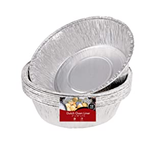 "Dutch Oven Liner (12 Pack) 10"" Disposable Dutch Oven Foil Liners - Standard Size 10 Inch Dutch Oven Inserts for Most Camping Ovens"