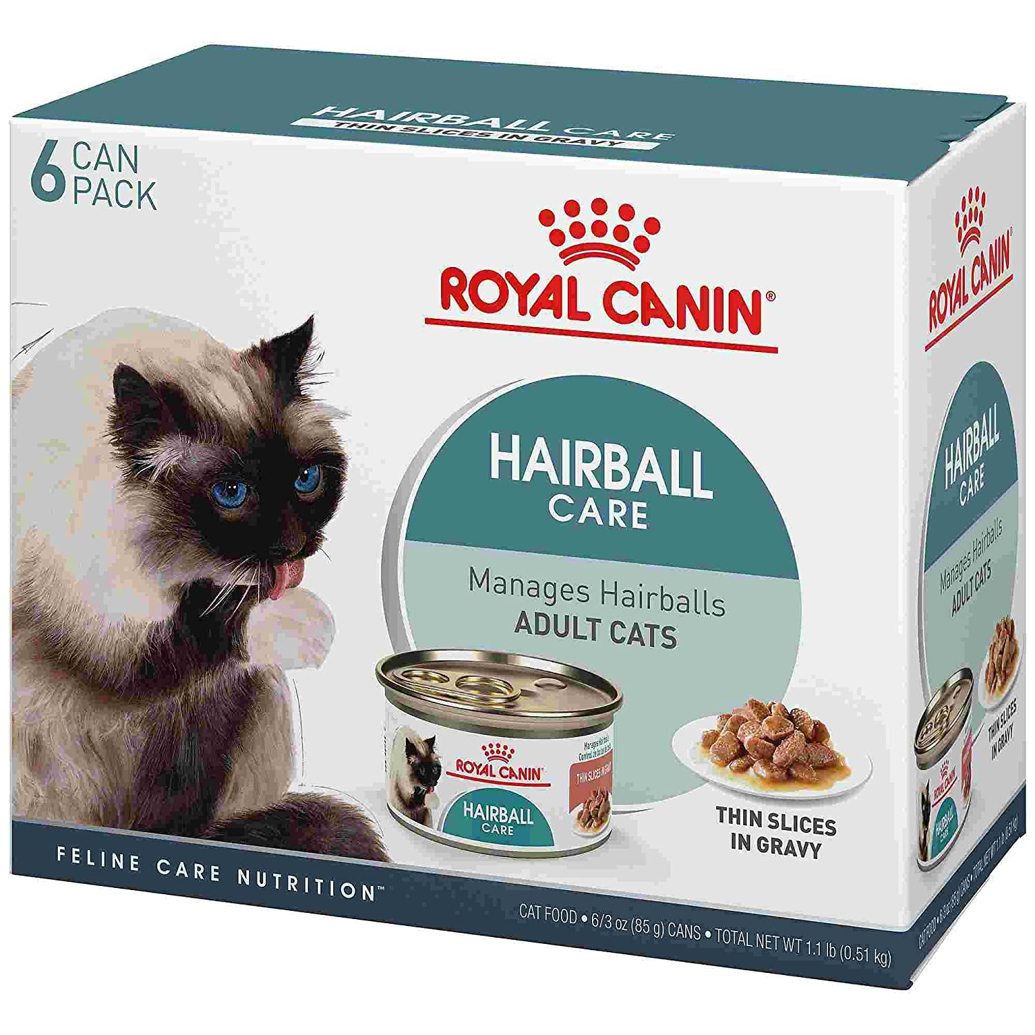 Amazon.com : Royal Canin Feline Care Nutrition Hairball Thin Slices in Gravy Wet Cat Food Multipack, 3 oz, Case of 6 : Pet Supplies