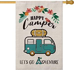 AVOIN Happy Camper House Flag Vertical Double Sided, Let's Go Adventure Rustic Camping Trailer Flag Yard Outdoor Decoration 28 x 40 Inch
