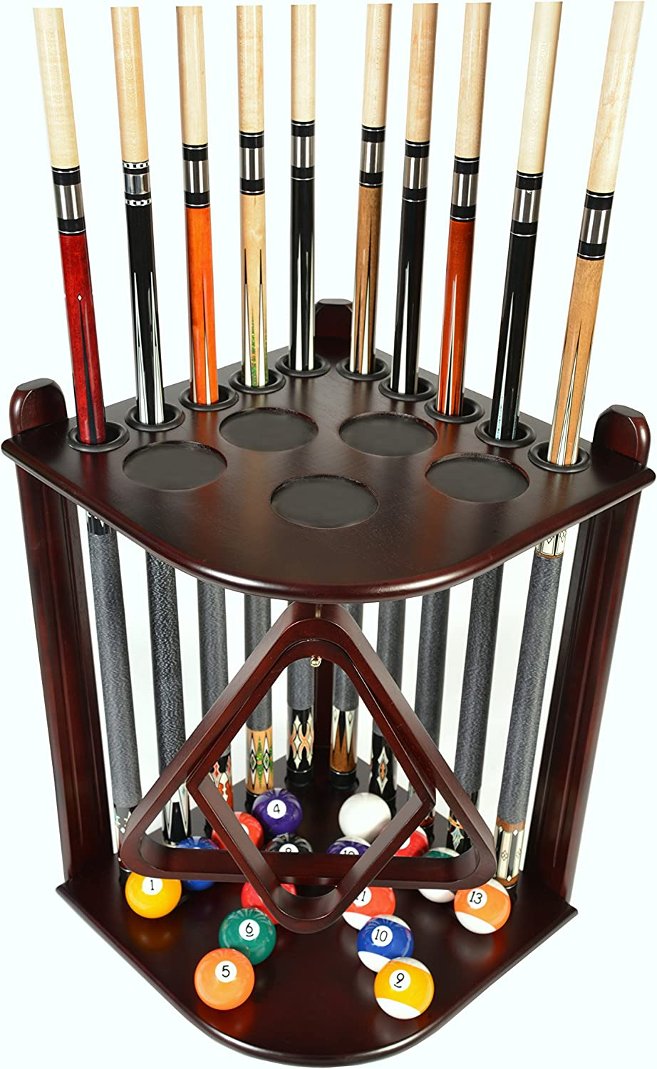 Cue Rack Only - 10 Pool - Billiard Stick & Ball Floor Rack - Holder Choose Mahogany, Black or Oak Finish