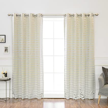 Best Home Fashion Satin And Suede Stripe Curtains