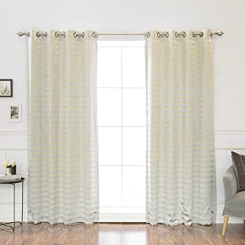 Best Home Fashion Satin And Suede Stripe Curtains   Antique Bronze Grommet  Top   Silver