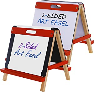 U.S. Art Supply Children's 3-in-1 Tabletop Double-Sided Art Activity Easel - Chalkboard, Dry Erase Board and Paper Roll - Portable, Chalk Marker Trays - Fun Kids Toddlers Learn to Paint, Draw, Write