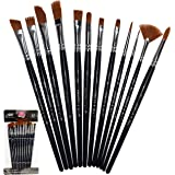 Crafts 4 All Paint Brushes 12 Set Professional Paint Brush Round Pointed Tip Nylon Hair Artist Acrylic Brush for Acrylic…