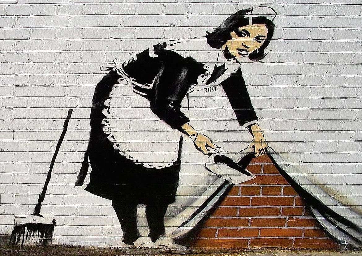 BANKSY SWEEPING IT UNDER THE CARPET MAID ART CONTEMPORARY ARTIST POSTER (A0 (1189x841MM)) Dynamo Printing Ltd