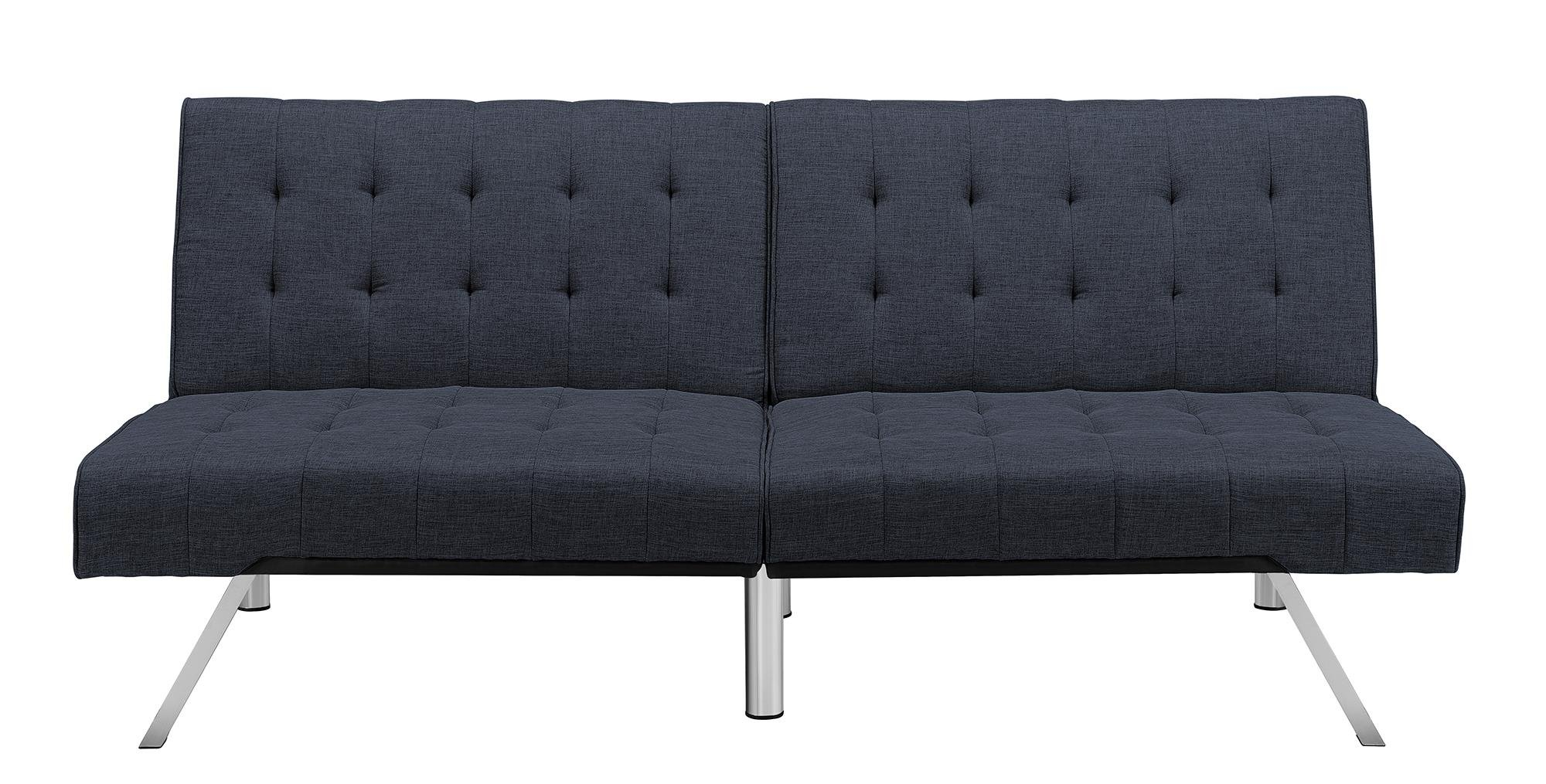 DHP Emily Futon Couch Bed Modern Sofa Design Includes Sturdy Chrome