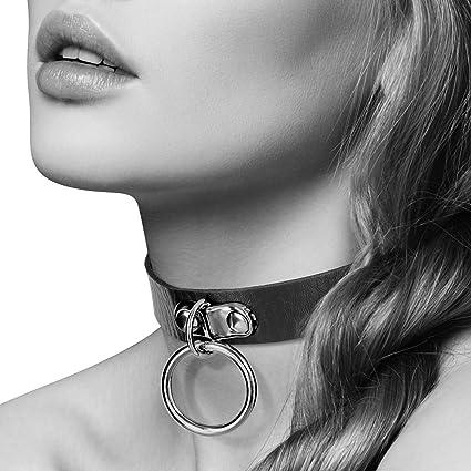 choisir le dernier prix le plus bas 100% de qualité Bijoux Pour Toi Collier en Cuir avec Anneau Métal Argenté pour Laisse Noir  Taille S/M
