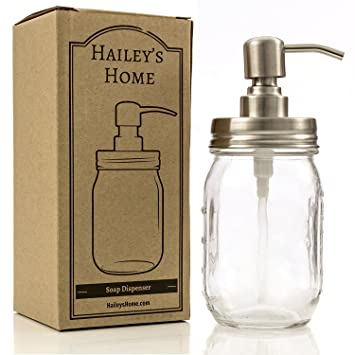 Ball Mason Jar Soap Dispenser   Metal Pump From Stainless Steel With Clear Glass  Jar For