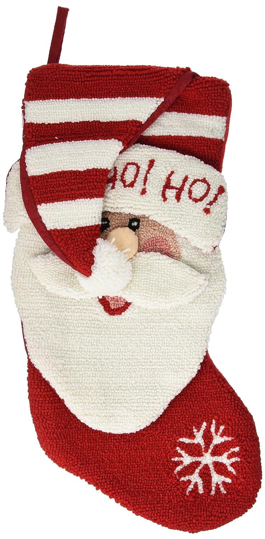 Glitzhome 20 Handmade Hooked 3D Santa Christmas Stocking Ho Ho JK13403WSA