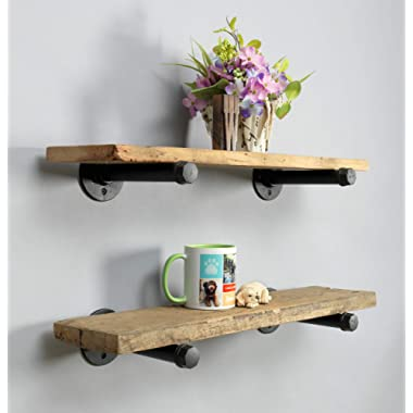 Rustic Farmhouse Reclaimed Wood Shelves | Barnwood Shelves | Set of 2 | 24 Inches (Genuine Salvaged/Reclaimed) | with Black Industrial Pipe Brackets | Made in USA (Ohio) | 24  x 1  x 6
