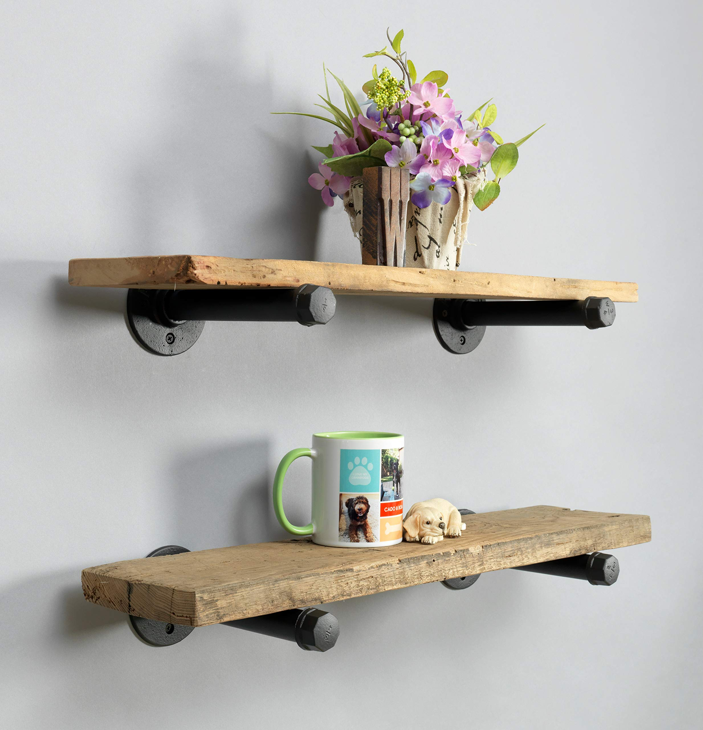Rustic Farmhouse Reclaimed Wood Shelves | Barnwood Shelves | Set of 2 | 24 Inches (Genuine Salvaged/Reclaimed) | with Black Industrial Pipe Brackets | Made in USA (Ohio) | 24'' x 1'' x 6''