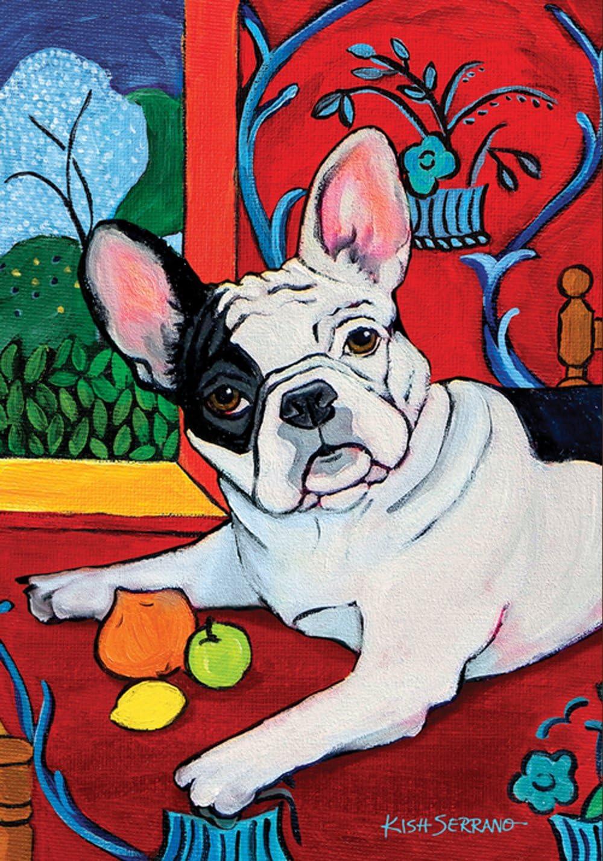 Toland Home Garden Muttisse French Bulldog 28 x 40 Inch Decorative Puppy Dog Portrait Painting Design House Flag