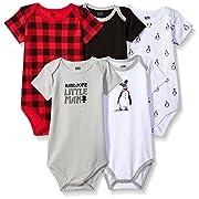 Hudson Baby Cotton Bodysuit, 5 Pack, Penguin, 9-12 Months