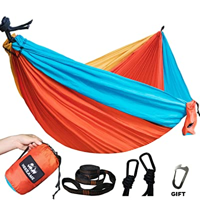 HEEKAME Double Camping Hammock, Portable Hammock with Tree Straps for Outdoor, Hiking, Camping, Travel, Backyard, Beach, Backpacking Survival… : Sports & Outdoors
