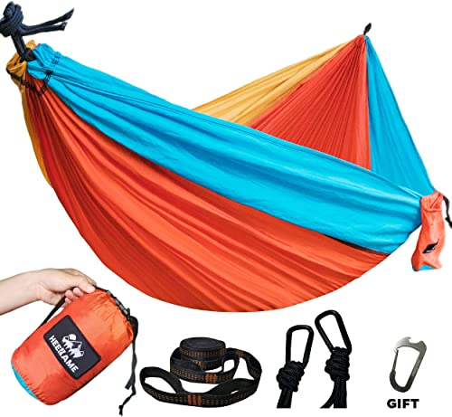 HEEKAME Double Camping Hammock,Portable Hammock with Tree Straps for Outdoor,Hiking,Camping,Travel,Backyard,Beach,Backpacking Survival