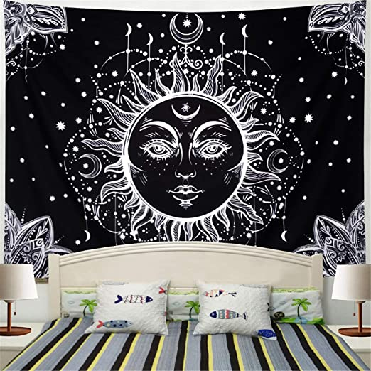 Sun and Moon Tapestry Psychedelic Wall Hanging Boho Black And White Room Decor