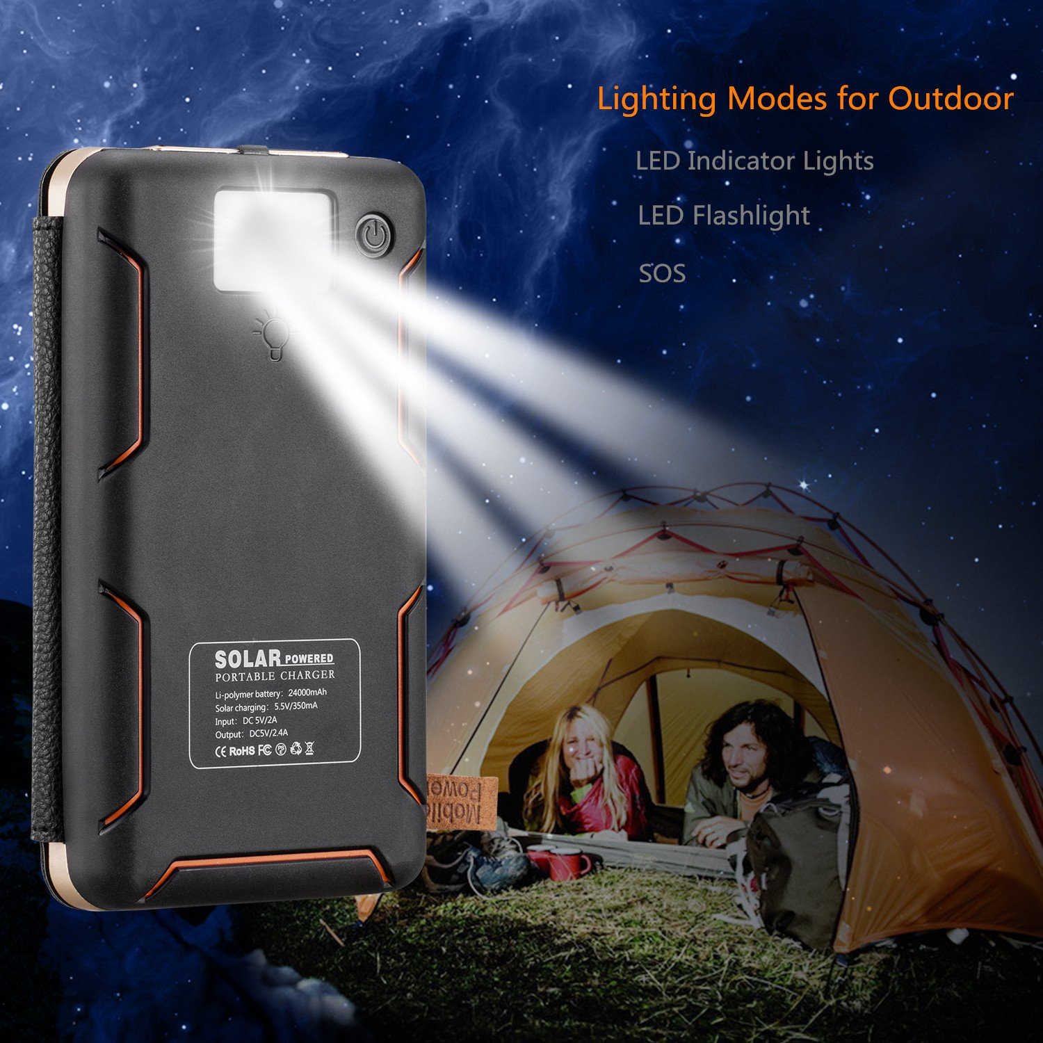 Aimshine PowerCore 24000mAh Solar Charger with Dual USB Ports, Upgraded Pairs of Solar Panels Power Bank for iPhone,SAMSUNG,ipad and Any Rechargeable Devices, A Necessity in Earthquake or Hurricane by Aimshine (Image #7)