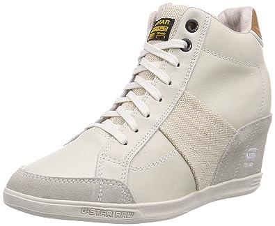 9304f3373162 G-Star Womens YARD WEDGE Wildchild Lthr High-top trainers White Weiß (White