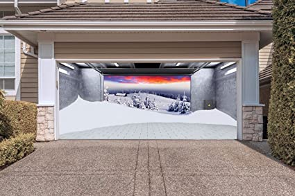 christmas garage door murals billboard for 2 car garage door merry christmas decorations full color print - Garage Christmas Decorations
