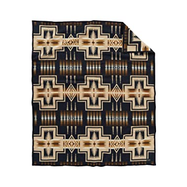 Pendleton Harding Jacquard Wool Bed Throw Blanket, Decorative Geometric Print, Oxford, Twin