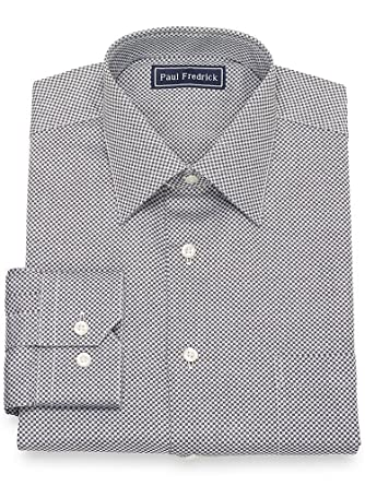 Regular Fit White With Black Check French Cuff Cotton Dress Shirt Men's Clothing Shirts