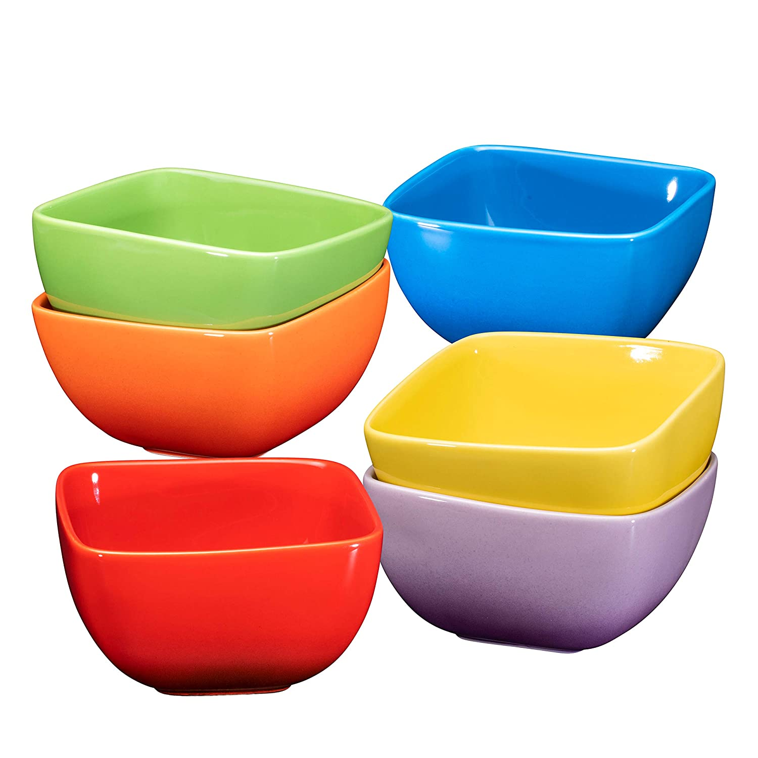 Bruntmor Large Porcelain Square Bowls - 26 Oz Durable Non-toxic Ceramic Bowls set of 6, Exceptional Multi-colored chip-resistant for Pasta, Berries, soup, Cereal Microwave Safe Appetizer Bowl