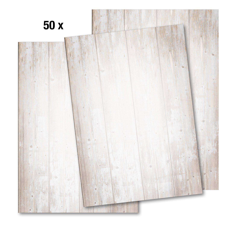 50 Blatt Briefpapier im Set Format DIN A4 Briefbögen Motivpapier Vintage rot