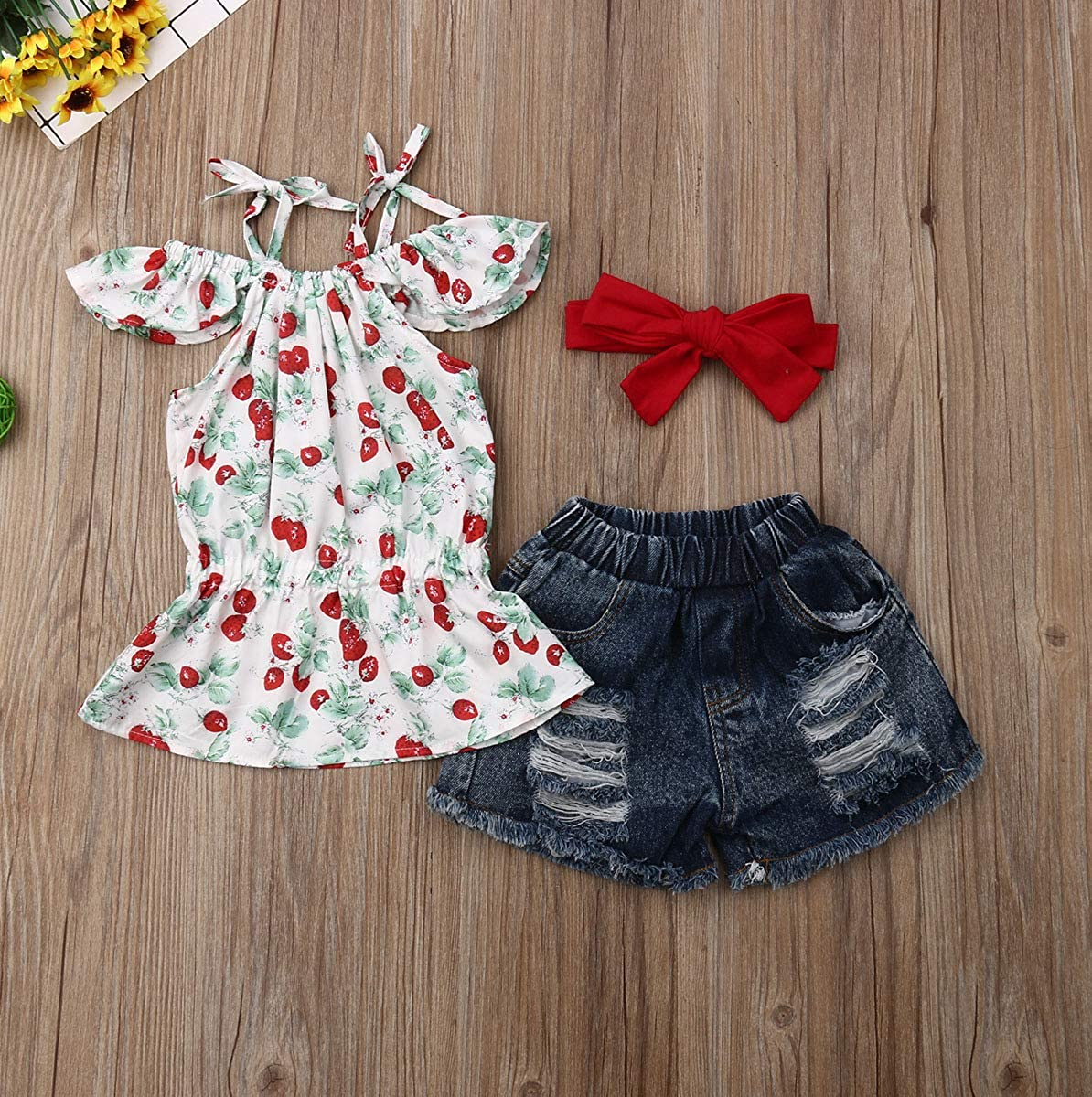 Infant Baby Girl Cherry Print Strap Knot Tank Top Demin Shorts Outfit Clothes Set
